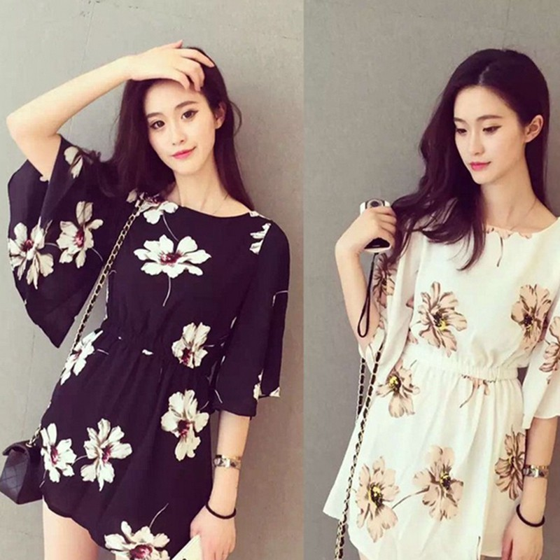 Specialhour Summer Women Dress Floral Print Flare Sleeve Round Neck Elastic Waist Mini Dress