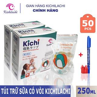 Hộp 50 Túi Trữ Sữa Kichilachi 250ml chính hãng – tặng bút ghi thông tin