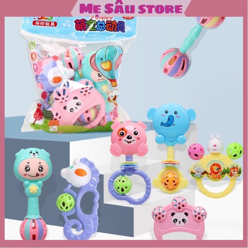 Bộ đồ chơi xúc xắc lục lạc 7 món hình thú cho bé.