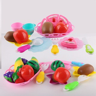 Children Play House Kitchen Food Fruit Vegetable Cutting Toys Educational