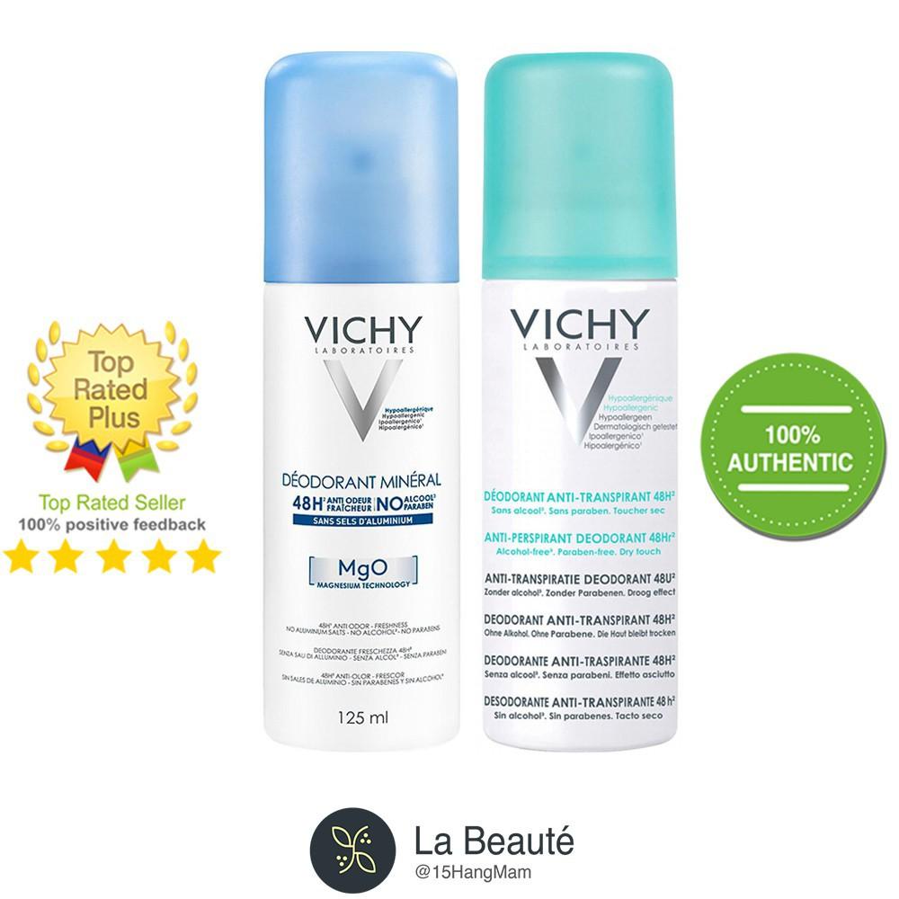 [CH]Vichy Desodorant Anti-Transpirant 48h & Déodorant Minéral 48H MgO - Xịt Khử Mùi Vichy 125ml