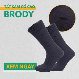 Tất Vớ Nam Cổ Cao – Combed Cotton Cao Cấp – Màu Xám Đậm – Brody