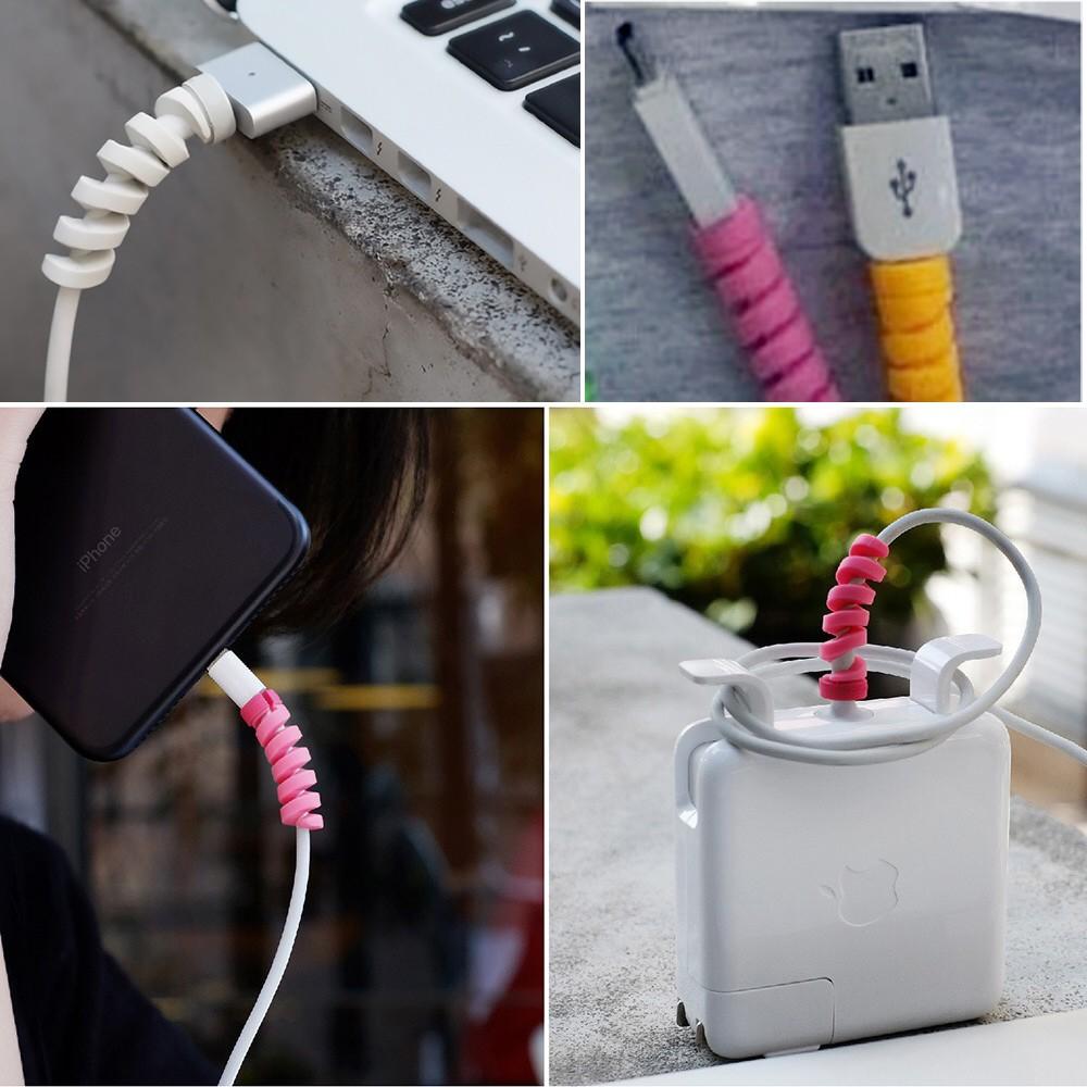 1 cặp miếng vỏ lò xo Bọc Nhựa Bảo Vệ Đầu Dây Cáp Sạc USB