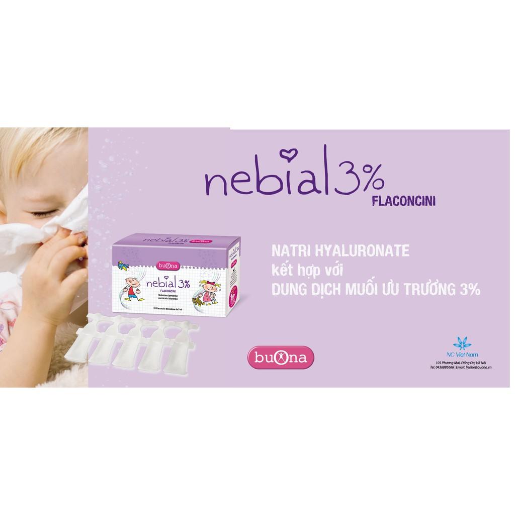 Dung dịch nhỏ mũi Nebial 3% Flaconcini, hộp 20 ống đơn liều 5ml