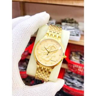 đồng hồ nam đẹp Baishuns dây vàng mặt vàng rồng 3D chống nước chống xước,tặng kèm vòng tì hưu