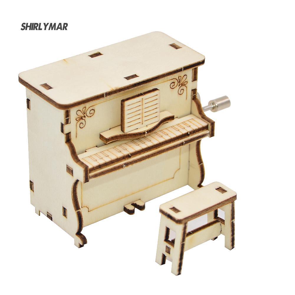 ஐSr DIY Wooden Piano Shape Music Box Hand Crank Musical Educational Kid Toy Gift