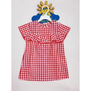 Váy Bé Gái vải thô caro đỏ bèo nhấn