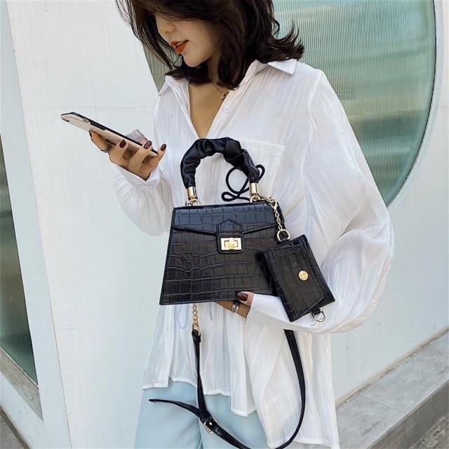 Túi xách nữ thời trang - Bộ túi đeo chéo nữ vân da đẹp giá rẻ