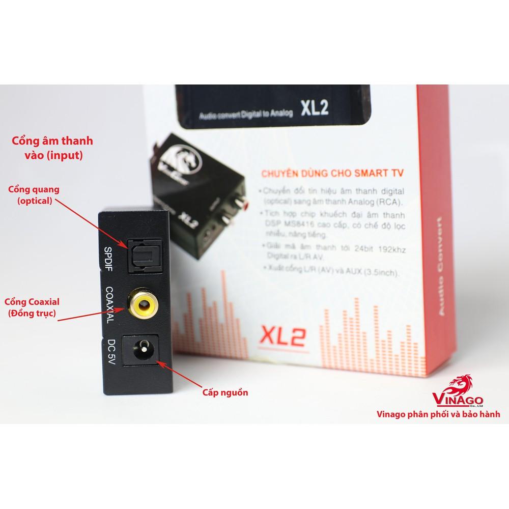 [Mã ELFLASH3 hoàn 10K xu đơn 20K] Bộ chuyển đổi âm thanh Optical ra AV Vinagear XL2 tặng dây quang 1m