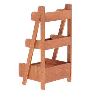 [ToyfulCabin] Wood 3 Layer Flower Rack Stand Shelf 1/12 Dollhouse Miniature Garden Decor