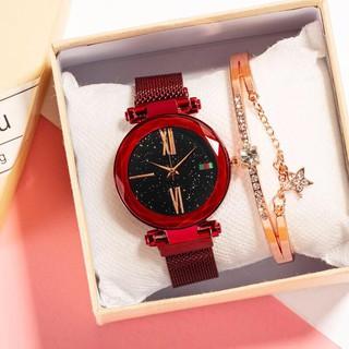 Đồng hồ thời trang nữ dây lưới nam châm Huans màu đỏ K763