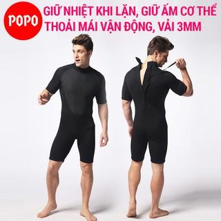 Bộ đồ lặn biển liền thân quần áo lặn cho nam dày 3mm POPO cho thợ lặn, áo lặn biển tay dài, ngắn tay giữ nhiệt thumbnail