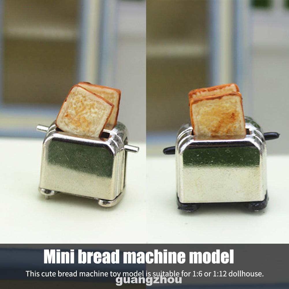 With Toast Pretend Play Cookware Mini Kids Decoration Dollhouse Part Dining Bread Machine Model