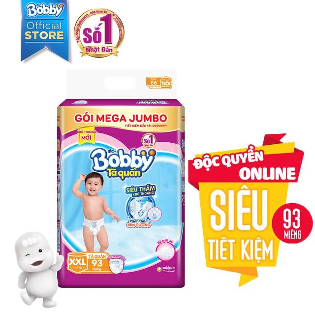 [Toàn quốc] Tã quần Bobby siêu thoáng bịch Mega Jumbo M120/L111/XL102/XXL93