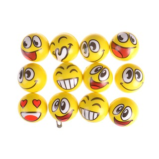 NBY❤❤Emoji Face Yellow Foam Soft Stress Novelty Fun Kids Toy Balls 10cm