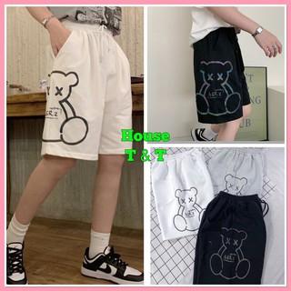 Quần đùi gấu House T & T chất dầy may kỹ, quần short đùi dài gần tới GỐI, UNISEX nam nữ 3 màu. thumbnail