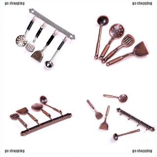 {go shopping}5pcs 1:12 Doll House Miniature Metal Kitchenware Dollhouse Model Cook Set
