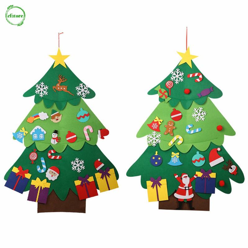 CF Christmas Gift DIY Felt Christmas Tree Set Kids Xmas Gifts Hanging Ornaments Home Decor