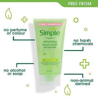 Hình ảnh [Mã FMCGMALL - 8% đơn 250K] Sữa Rửa Mặt Dịu Nhẹ Simple Kind To Skin Refreshing Facial Wash 150ml-5