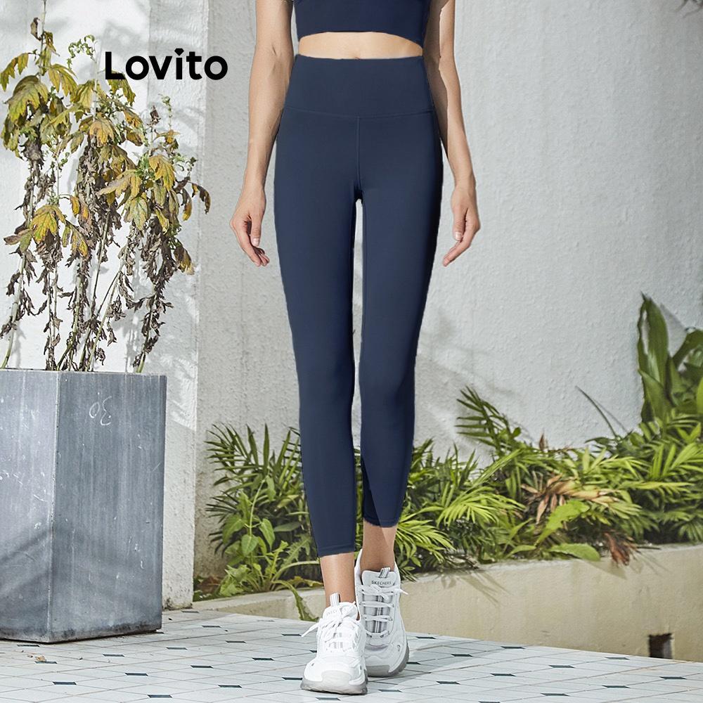 Mặc gì đẹp: Thoáng mát với Quần tập yoga/thể thao Lovito lưng cao màu trơn L02044 (Light Blue/Pink/Black/Dark Blue)