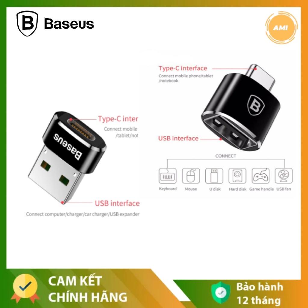 ĐẦU CHUYỂN ĐỔI OTG - TYPE C FEMALE TO USB MALE - TYPE C MALE TO USB FEMALE - BASEUS - CHÍNH HÃNG - BẢO HÀNH 12 THÁNG