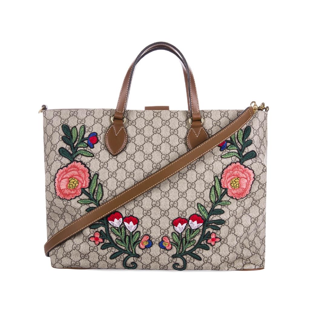 GUCCI  Gucci นางสาวกระเป๋ากุชชี่ดอกไม้เย็บปักถักร้อยกระเป๋าสะพายกระเป๋าถือ 453705 ของแท้พิเศษ