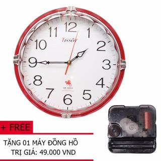 Đồng Hồ Treo Tường Tròn TISSOT (S65) 30cm (màu đỏ) + Tặng 01 máy đồng hồ treo tường
