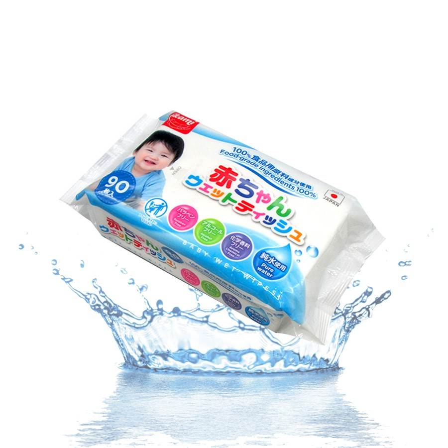 Khăn ướt Nhật Ikami không mùi 90 miếng (Xanh)