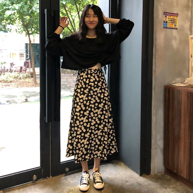Set Áo Thun Tay Dài Dáng Rộng + Chân Váy Phong Cách Hàn Quốc Cho Nữ