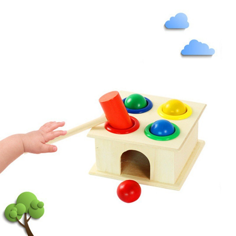 BOBORA Wooden Toys Hammer Wood Toy Early Learning Educational Toys Children Gifts