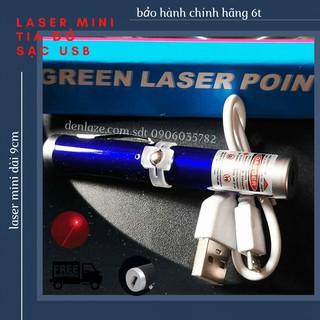 Bút Laser Mini Tia Đỏ 9cm Vỏ Xanh Dương Sạc USB Cao Cấp