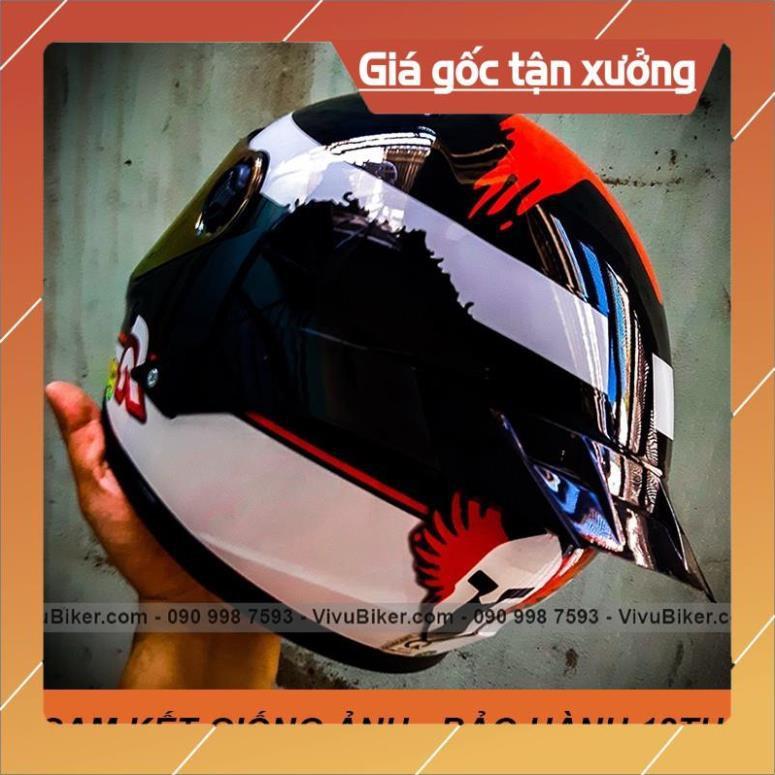 [Giống ảnh] [GIÁ KHO] Mũ bảo hiểm Fullface Asia mt136 tem SRT xám bạc -  bảo hành chính hãng 12th