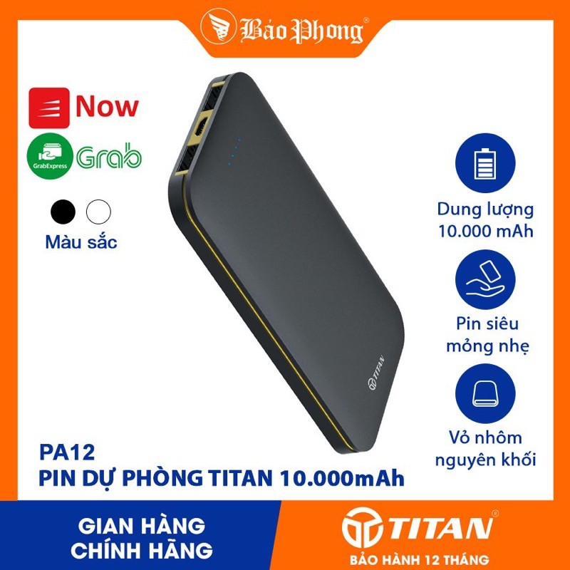 Pin dự phòng TITAN PA12 10.000mAh nhôm nguyên khối