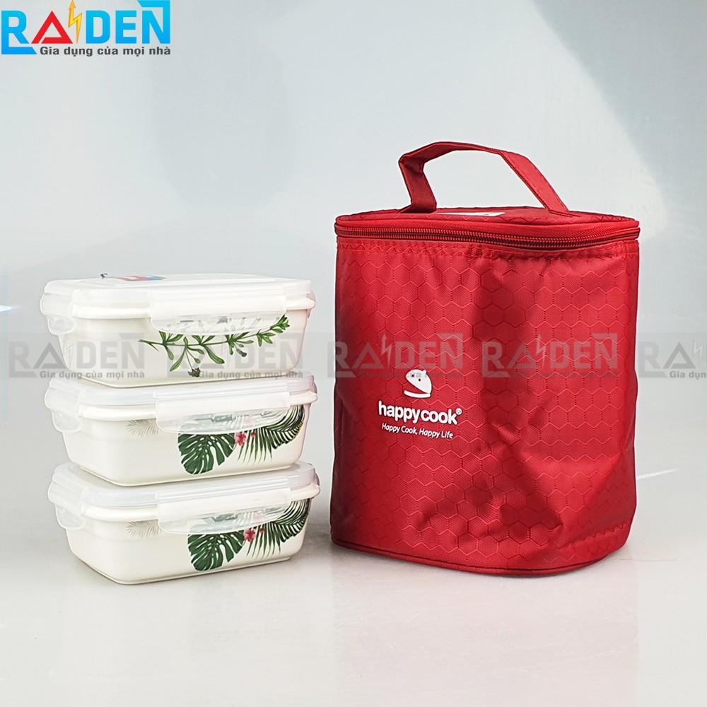 Hộp cơm sứ 3 tầng vuông / tròn / chữ nhật Happycook tặng túi đựng cách nhiệt màu ngẫu nhiên