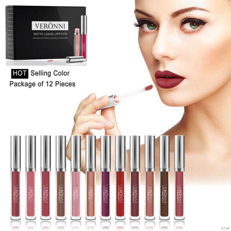 [Hàng mới về] VERONNI 12Pcs Matte Long Lasting Waterproof Not Fade Magic Lip Gloss Gift Set - 13963639 , 2341386929 , 322_2341386929 , 435600 , Hang-moi-ve-VERONNI-12Pcs-Matte-Long-Lasting-Waterproof-Not-Fade-Magic-Lip-Gloss-Gift-Set-322_2341386929 , shopee.vn , [Hàng mới về] VERONNI 12Pcs Matte Long Lasting Waterproof Not Fade Magic Lip Glos