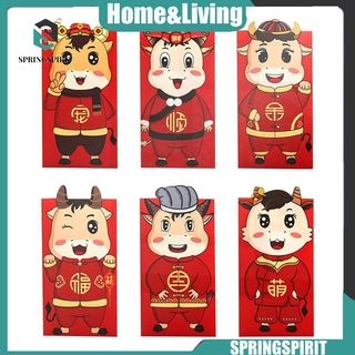 【Hot】6pcs/set Cute Cartoon Cattle Spring Festival Red New Year's Red Envelope