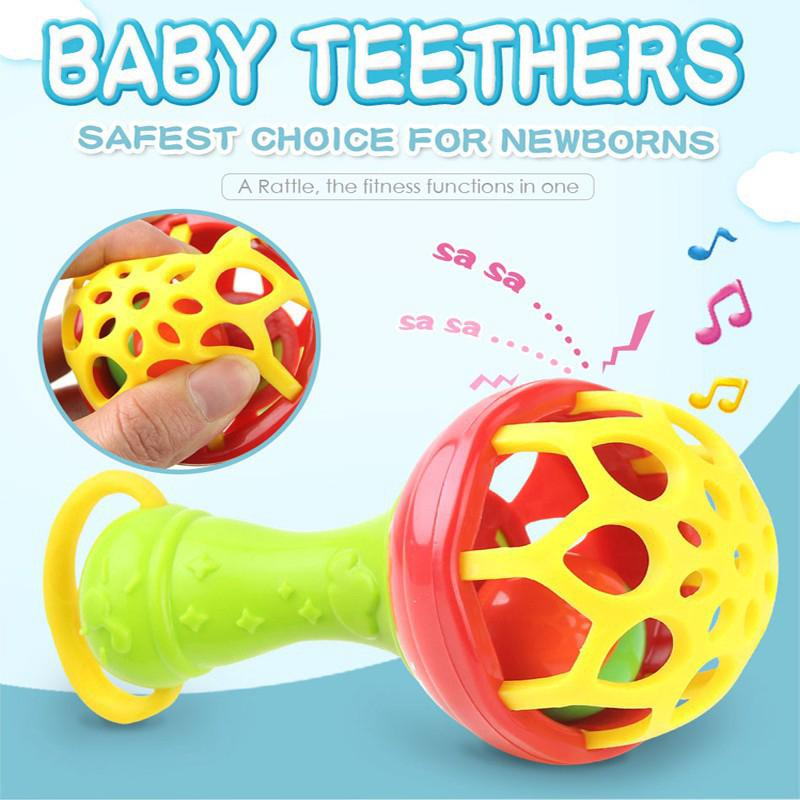 Baby Intelligence Plastic Hand Bell Rattle Funny Educational Toy