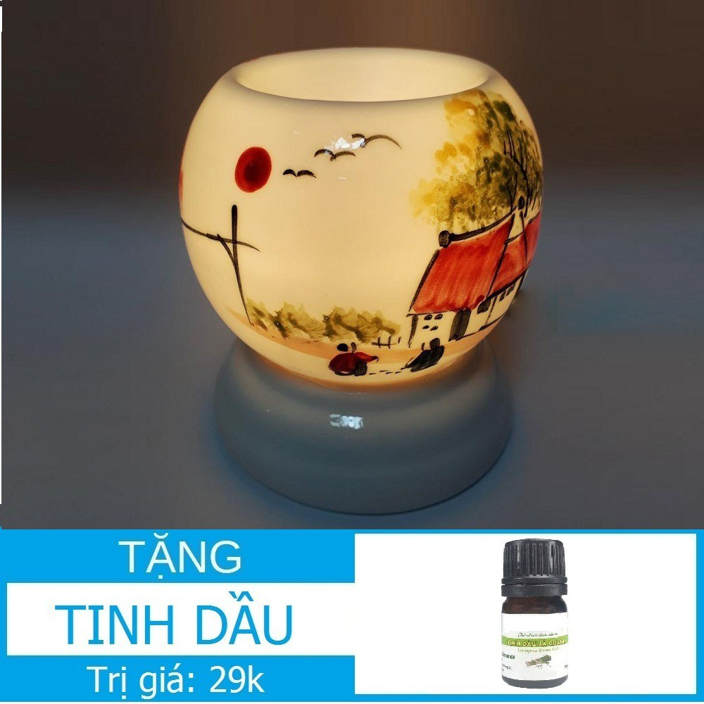 Đèn xông tinh dầu thơm phòng đuổi muỗi (Bảo hành Vỡ) hình Tròn 9,5x11,5cm Chọn kèm 1 Tinh dầu sứ Bát Tràng Việt Nam