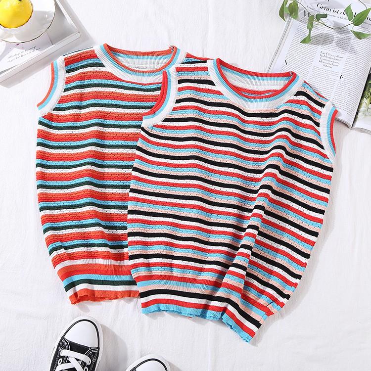 Sleeveless vest female 2019 simple striped spring thin sleeve vest C@18 fashion