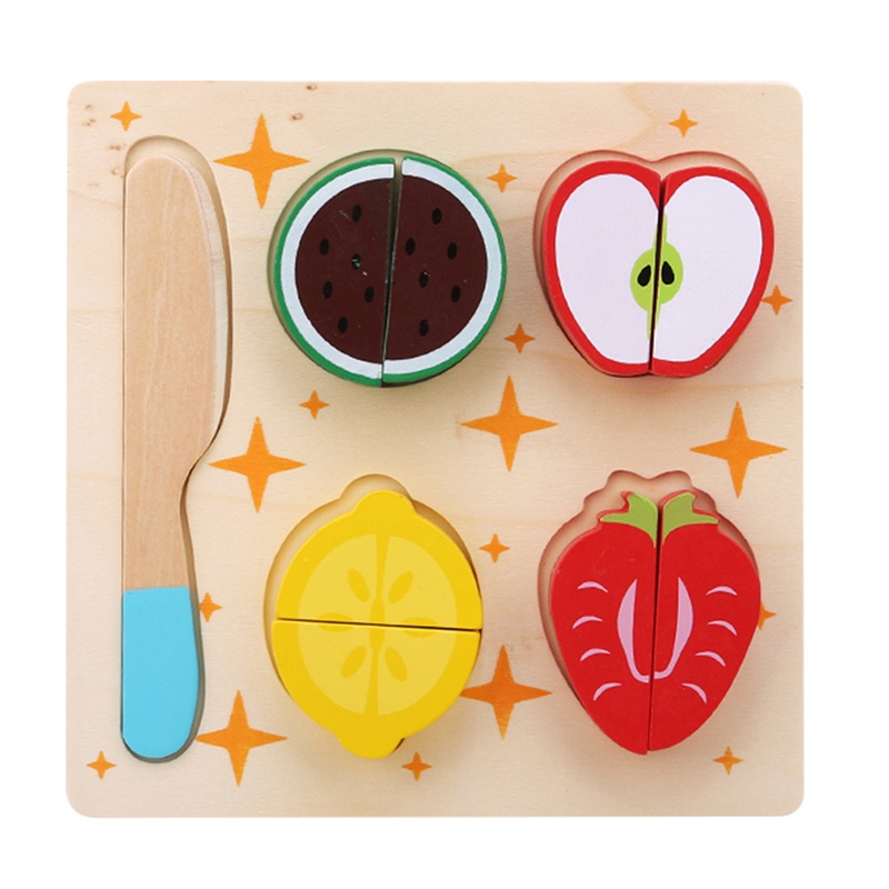 Kitchen Accessories New Wooden Kids Pretend Role Play Kitchen Fruits Vegetables Toys Cutting Set