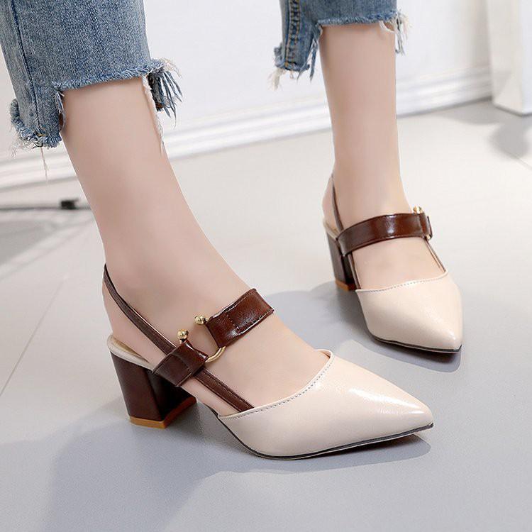 Dép thời trang mũi nhọn cho nữ Giày cao gót đế giữa