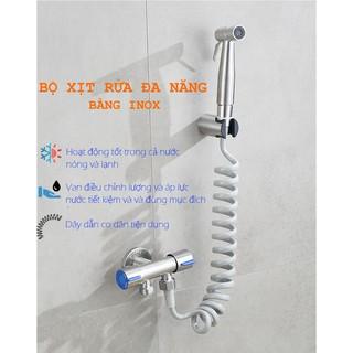 Bộ vòi xịt rửa đa năng gồm van xả 2 cổng điều khiển riêng biệt, dây dẫn nước dạng lò so, vòi tay 2 chế độ [ONE STORE]