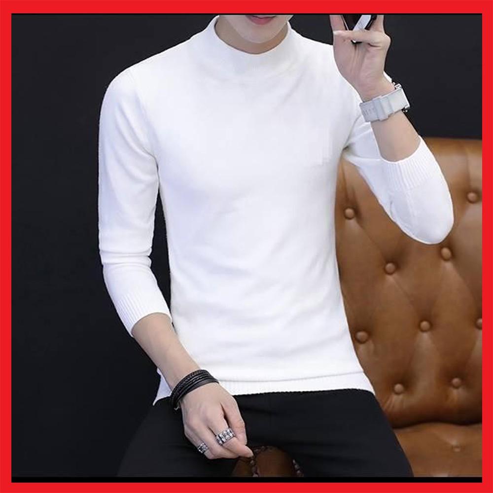 Áo len cổ tròn nam màu trắng