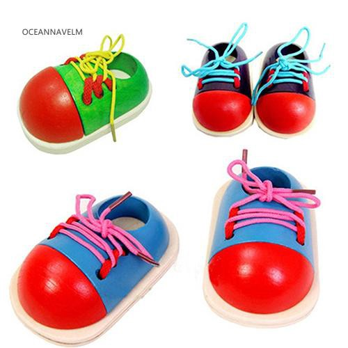 ♧OA Wooden Toy Shoelaces Shoes Lacing Tie Learning Preschool Skills Development Tool
