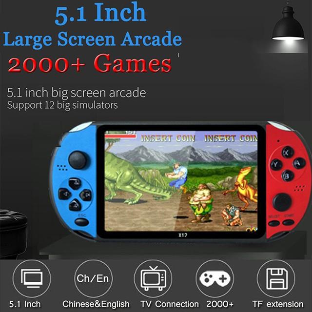 Máy chơi game cầm tay X12 PSP Tích hợp hơn 2000 trò chơi miễn phí Màn hình 5.1 inch 8GB Hỗ trợ Máy ảnh video Sách điện tử Trò chơi cổ điển NES GBA cổ điển