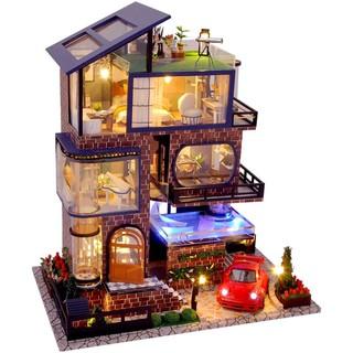 Kèm Mica, nhạc, xe hơi và keo dán – Mô hình nhà búp bê Dollhouse DIY – TB21 Manhattan