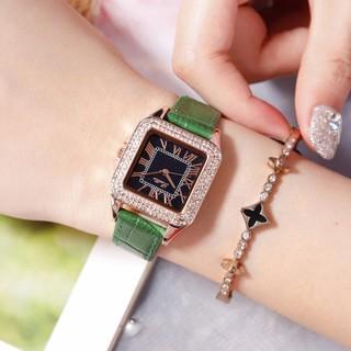 Đồng hồ nữ Scottie S9040 hàng chính hãng dây da mặt vuông viền đá thumbnail