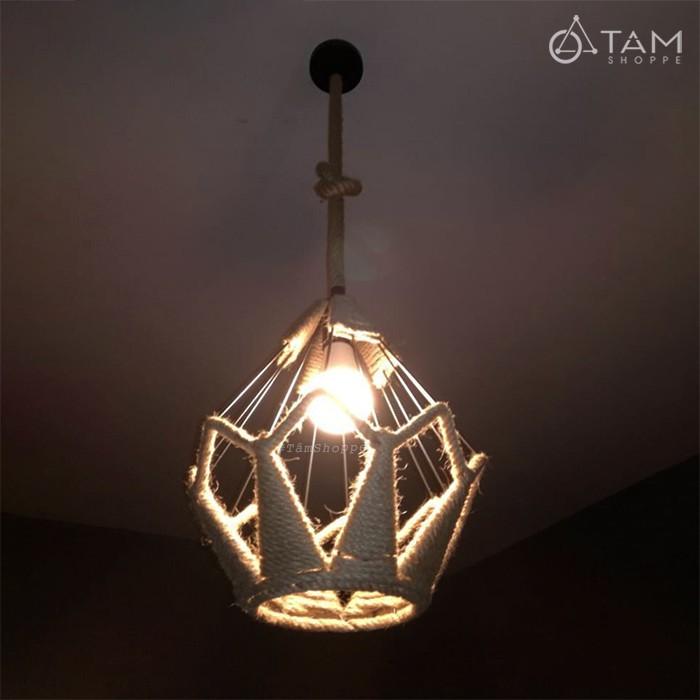 [CAO CẤP - KÈM ÚP TRẦN] Đèn thả trần dây thừng khung sắt kim cương FE-ĐTTDT-05