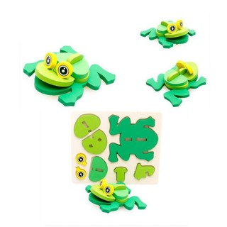 BOBORA DIY Baby Children Mini 3D Animal Puzzle Toy Kids Educational Toy Wooden Colorful Jigsaw