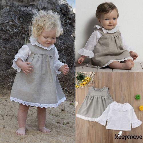 Set áo thun dài tay nhún bèo + Chân váy xòe cho bé gái - 21891620 , 2714353046 , 322_2714353046 , 197408 , Set-ao-thun-dai-tay-nhun-beo-Chan-vay-xoe-cho-be-gai-322_2714353046 , shopee.vn , Set áo thun dài tay nhún bèo + Chân váy xòe cho bé gái